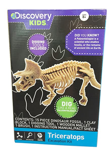 0a1ea4d68 Amazon.com: Discovery Kids Dinosaur Excavation Kit ~ Dig Like a Real  Paleontologist (Triceratops): Toys & Games
