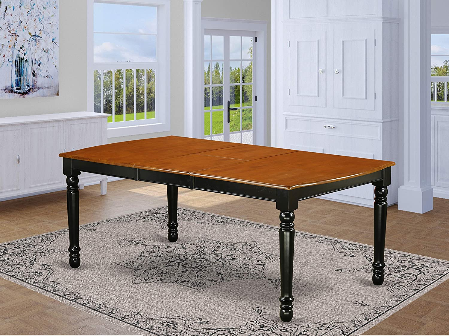 "East West Furniture DOT-BCH-T Dover Dining Room Table with 18"" Butterfly Leaf, Large, Black and Cherry"