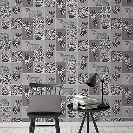 Safari Animals Wallpaper Grey Fine Decor Fd41919
