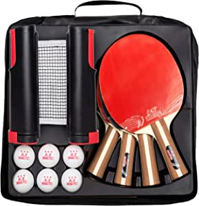 IntegraFun Pro Ping Pong Paddle Set with Ping Pong Net- Bracket Clamps,3-Star Ping Pong Balls, Storage Case - Retractable Net and Post Set Adjustable to Any Table - Indoor Outdoor Games for Family