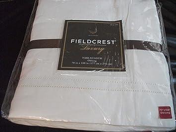 Fieldcrest Luxury Tablecloth Beige Oblong 70 X 108 In, 100% Linen
