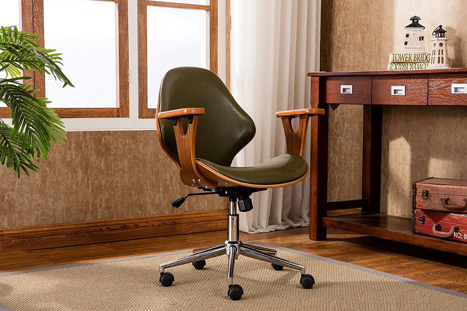 Porthos Home Lilian Office Chairs in Mid Century Modern Design with Arm Rests, Leather Upholstery, Height Adjustment & Stainless Steel Legs, Green