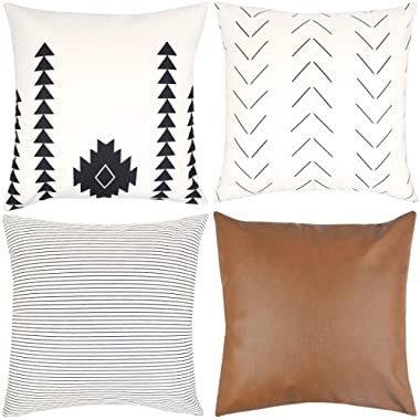 Woven Nook Decorative Throw Pillow Covers ONLY for Couch, Sofa, or Bed Set of 4 18x18 20x20 and 22x22 inch Modern Design 100% Cotton Stripes Geometric Faux Leather Amaro Set (18'' x 18'')