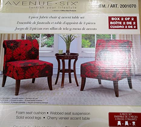 Marvelous Amazon Com Avenue Six 3 Piece Chair Accent Set In Red Evergreenethics Interior Chair Design Evergreenethicsorg