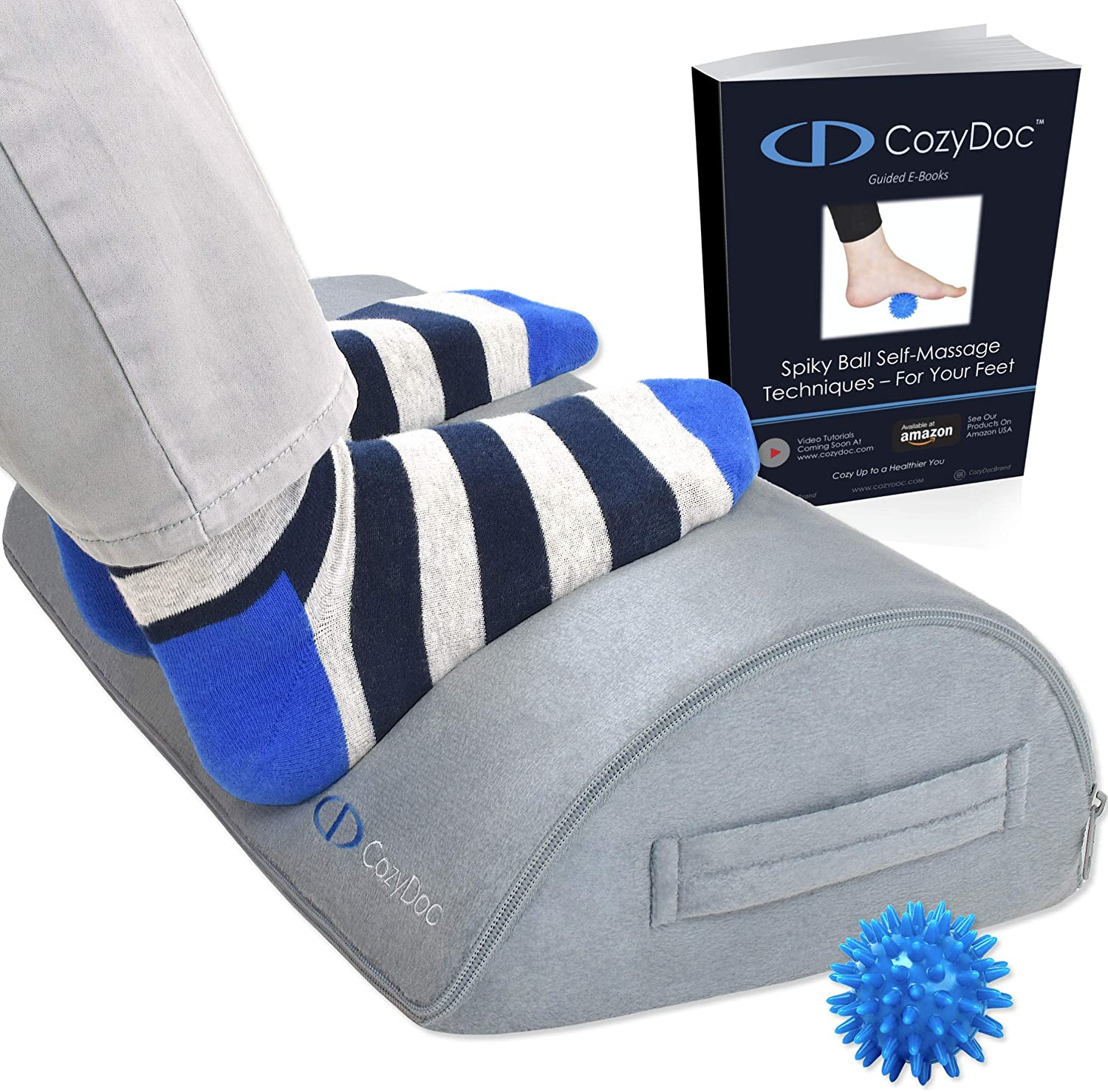 CozyDoc Ergonomic Foot Rest Cushion Under Desk + Massage Ball | The Most Comfortable Footrest for Home, Office, Travel | Doctor Designed Orthopedic Foam for Feet, Knee, Back Pain Relief?Gray?