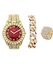 Mens Gold Big Rocks Bezel Bloody-Red Dial with Roman Numerals Fully Iced Out Watch w/Cuban Chain Bracelet & Ring Size 9 - Bloody Red/Gold - ST10327CRG(9)