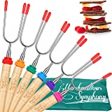 Carpathen Campfire Roasting Sticks for Marshmallow and Hot Dog - Set of 6 Telescopic Smores Skewers Extra Long Heavy…