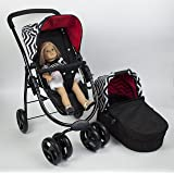 Like Bugaboo Doll Stroller, Pram, Bed 3 in 1 Deluxe Doll Playset With Swivel Wheels, Great Gift for Girls