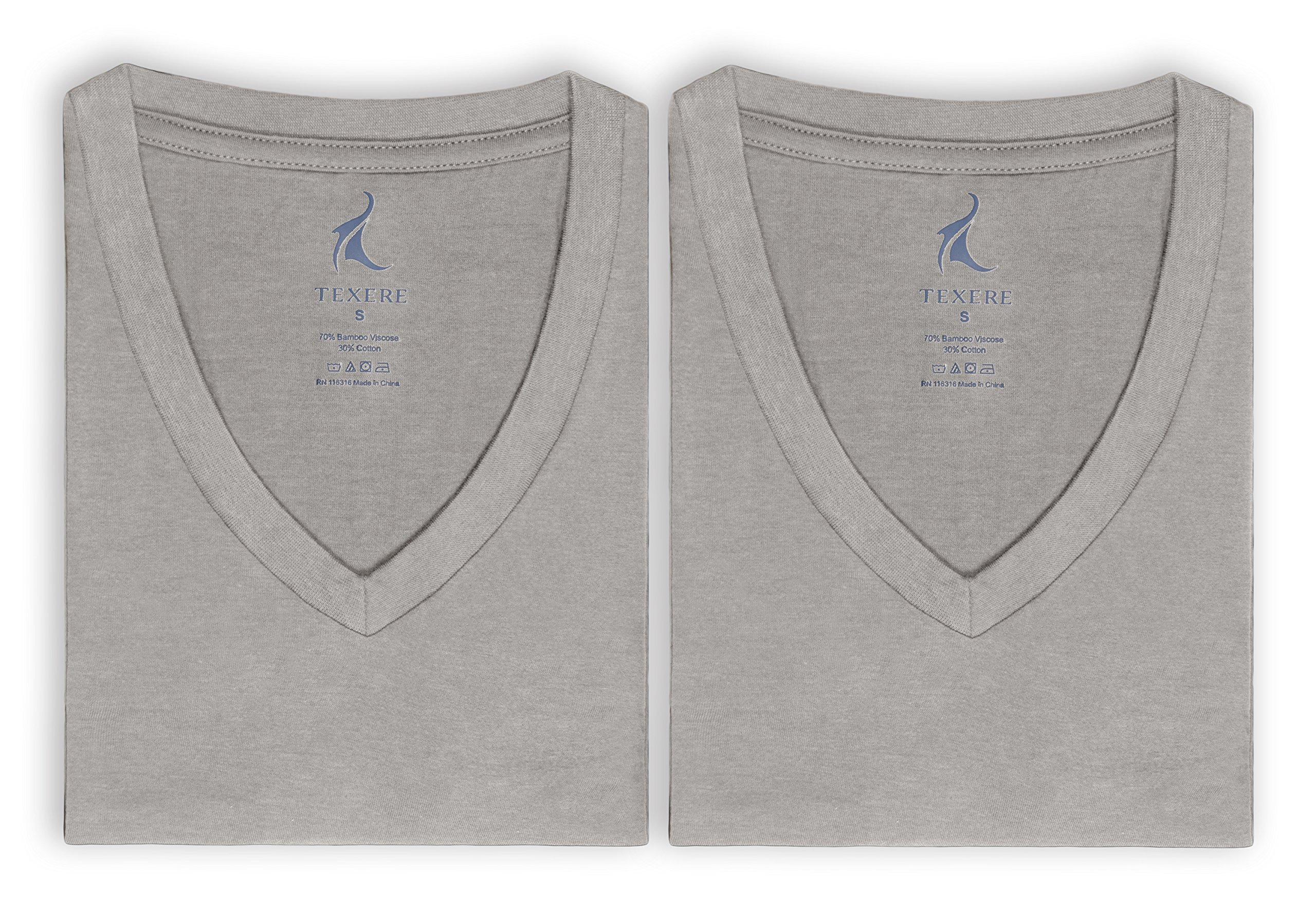 Men's V-Neck Undershirts in Bamboo Viscose - 2 Pack Shirt for Him by Texere (Light Gray, Large/Tall) Romantic Gifts for Boyfriend Husband Fiance MB6302-LGR-LT
