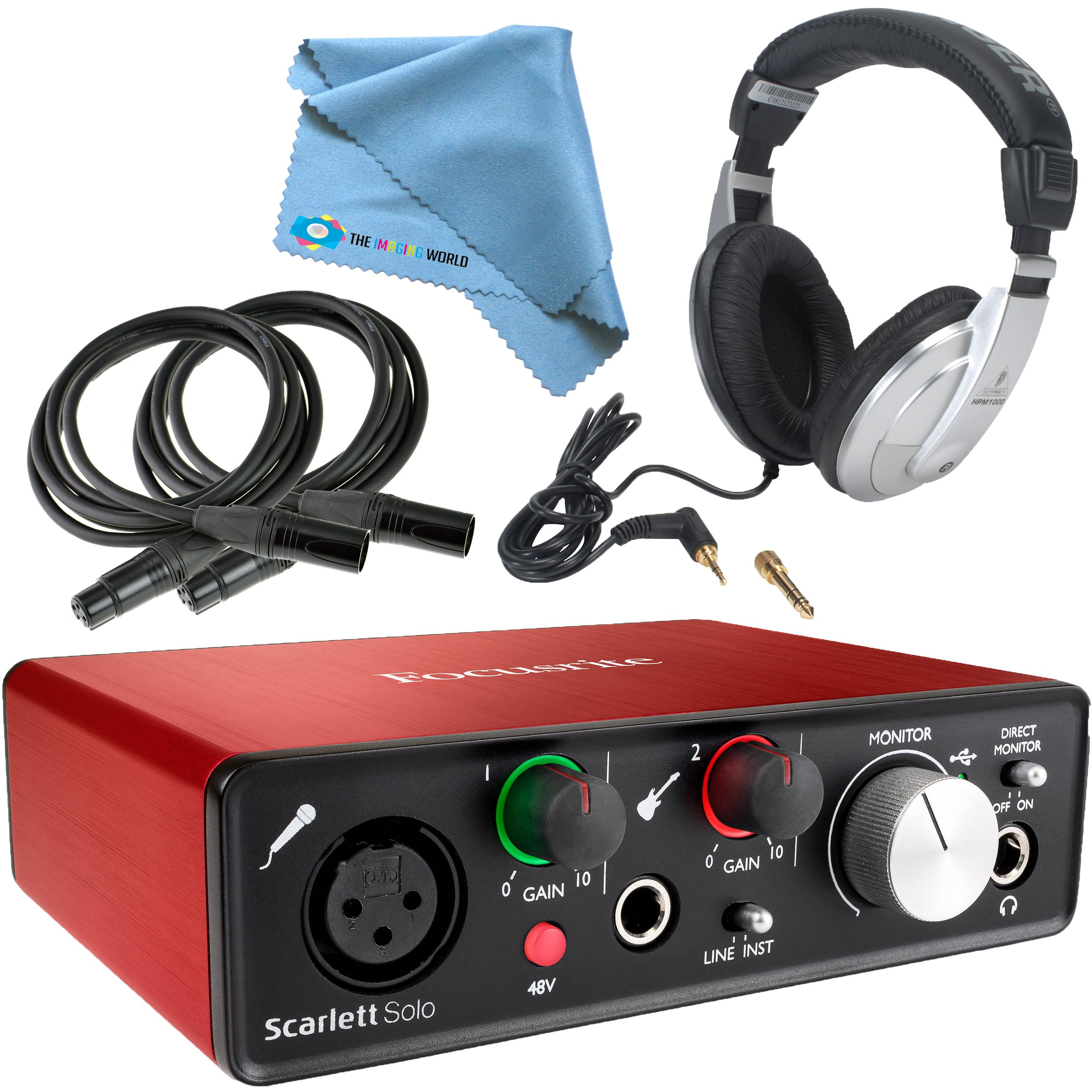 Focusrite Scarlett Solo (2nd Gen) USB Audio Interface with Pro Tools | First + Headphones, 2x 10 ft. Microphone Cables, Cleaning Cloth by Focusrite