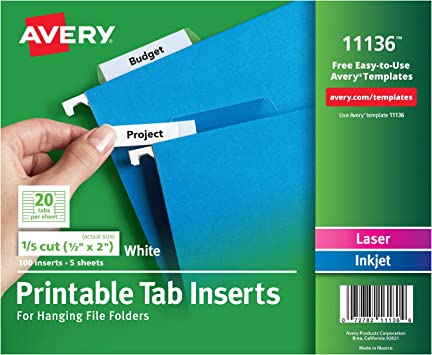 Avery Worksaver Tab Inserts 2 Inches White 100 Inserts 11136