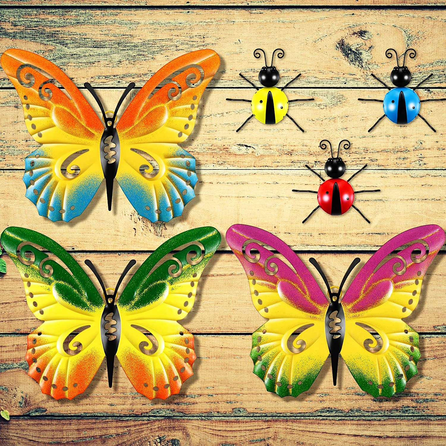 6 Pieces Ladybug and Butterfly Garden Decor Set 3 Pieces Metal Ladybugs Outdoor Wall Sculptures 3 Pieces Metal Butterfly Wall Decor for Kitchen Outdoor Fence Garden Tree, Porch, Patio and Yard