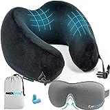 Luxury Travel Neck Pillow Sleep Kit - 100% Memory Foam Travel Pillow, 3D Contoured Sleep Mask, Moldable Ear Plugs…