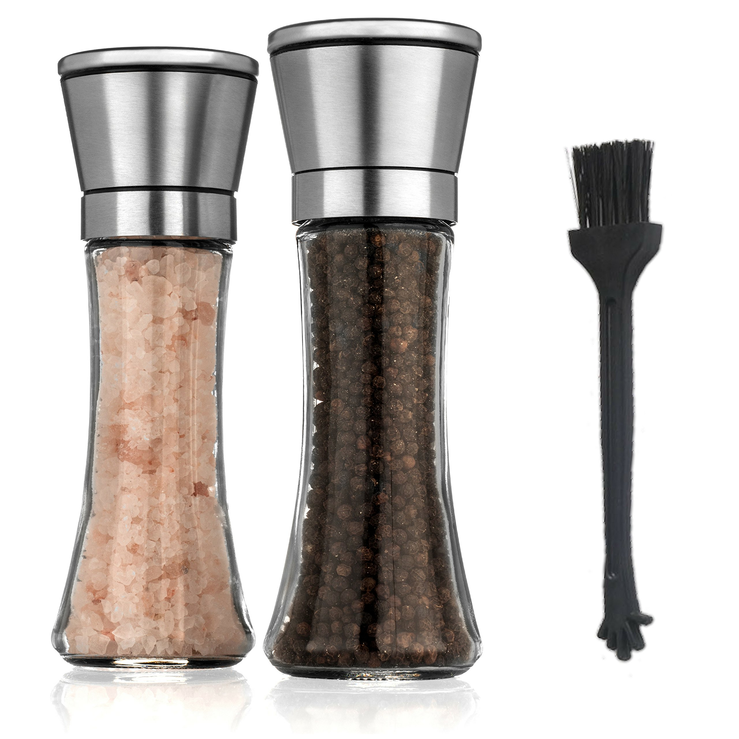 ZaraLuxe Salt And Pepper Grinder Set | Stainless Steel Salt And Pepper Shakers w/ Tall Glass Body & Adjustable Coarseness Ceramic Rotor | Easy To Refill & Clean | Premium Salt Pepper Mill (Set Of 2)
