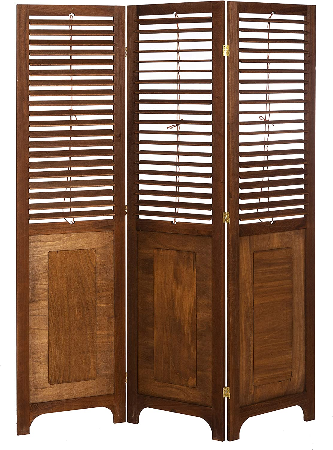 3 PANEL SOLID WOOD SCREEN ROOM DIVIDER WITH ADJUSTABLE SHUTTERS ON TOP HALF WALNUT BROWN COLOR BY LEGACY DECOR