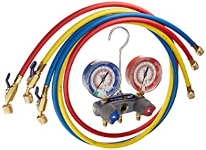 Yellow Jacket 49868 Titan 2-Valve Test and Charging Manifold Degrees F, psi Scale, R-22/404A/410A Refrigerant, Red/Blue Gauges