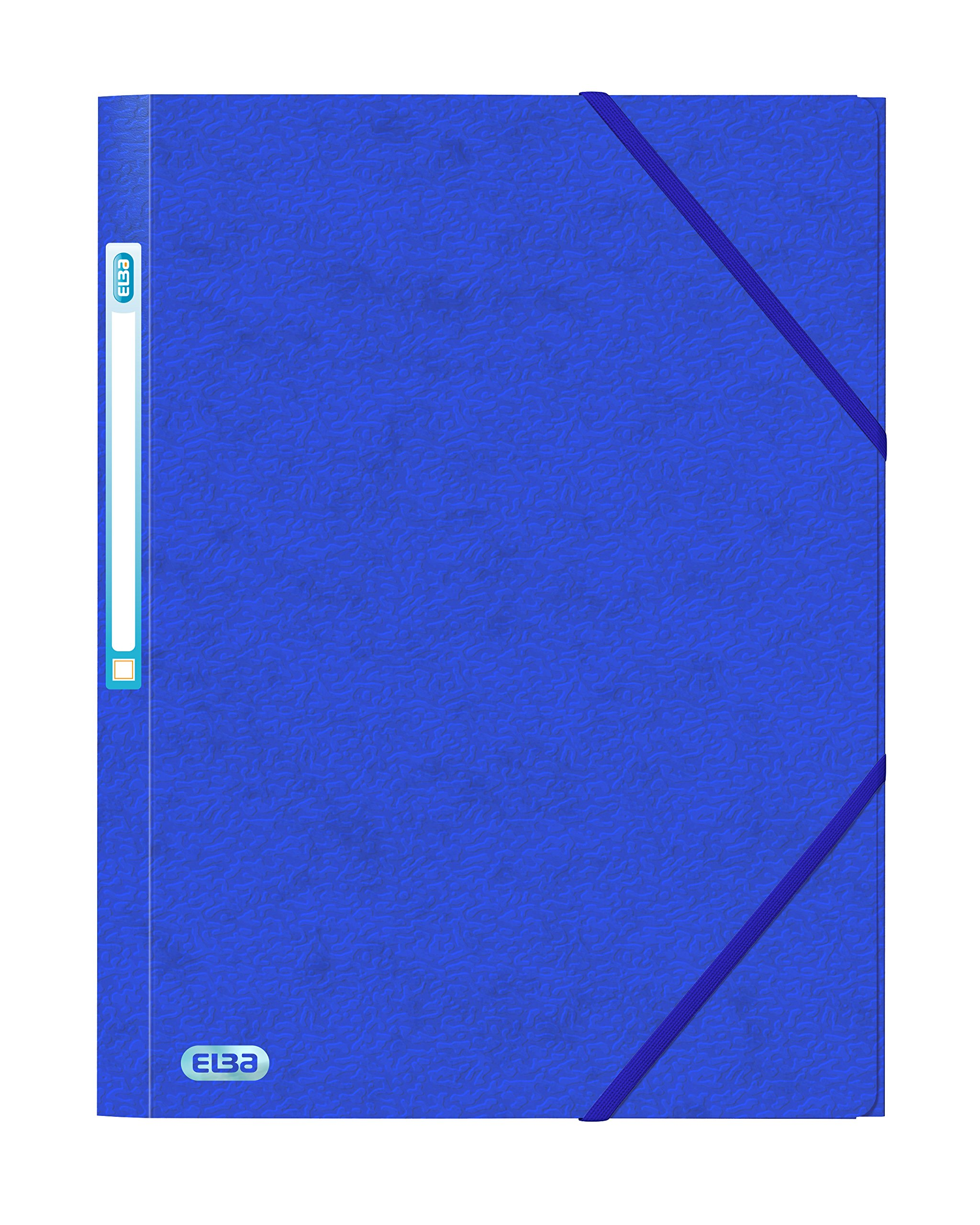 Elba Folder Elasticated 3-Flap 500gsm for 300 Sheets A4-Foolscap Blue Ref 43198031 [Pack of 10]