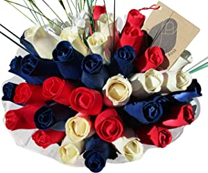 The Original Wooden Rose Patriotic Holiday Flowers RED, White, and Blue Fourth of July Memorial Day Presidents Day (3 Dozen)