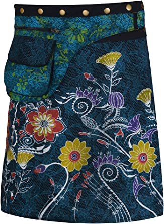 Women/'s Skirt Mandala Print Button Closure Warp Mini Skirt