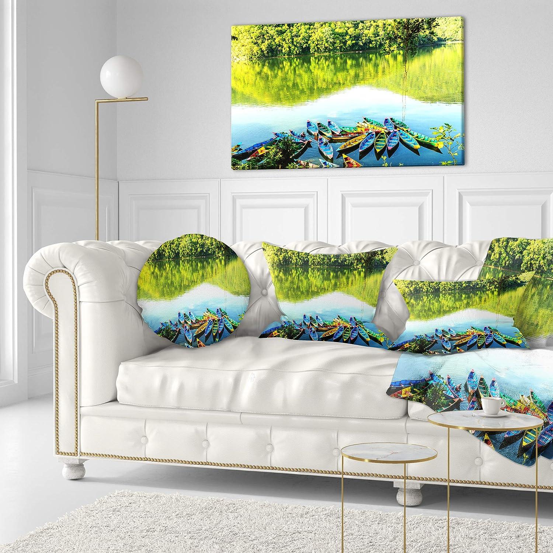 Sofa Throw Pillow 20 Designart CU15700-20-20-C Lake Pokhara Nepal Boat Round Cushion Cover for Living Room