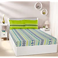 Amazon Brand - Solimo Fuzzy Strings 144 TC 100% Cotton Double Bedsheet with 2 Pillow Covers
