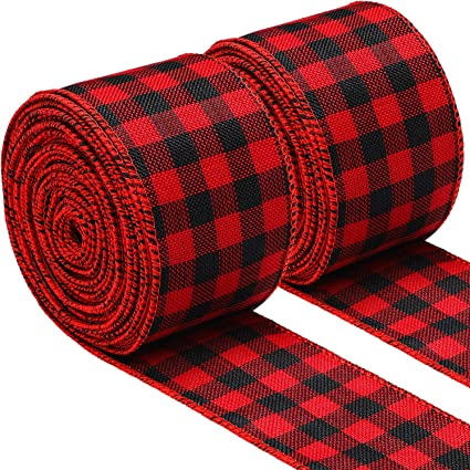 472 Inch Long Total 2 Rolls 2.5 Inch Wide Christmas Ribbon Red and Black Plaid Wired Ribbon Christmas Wrapping Crafts Ribbon for Gift Wrapping Supplies