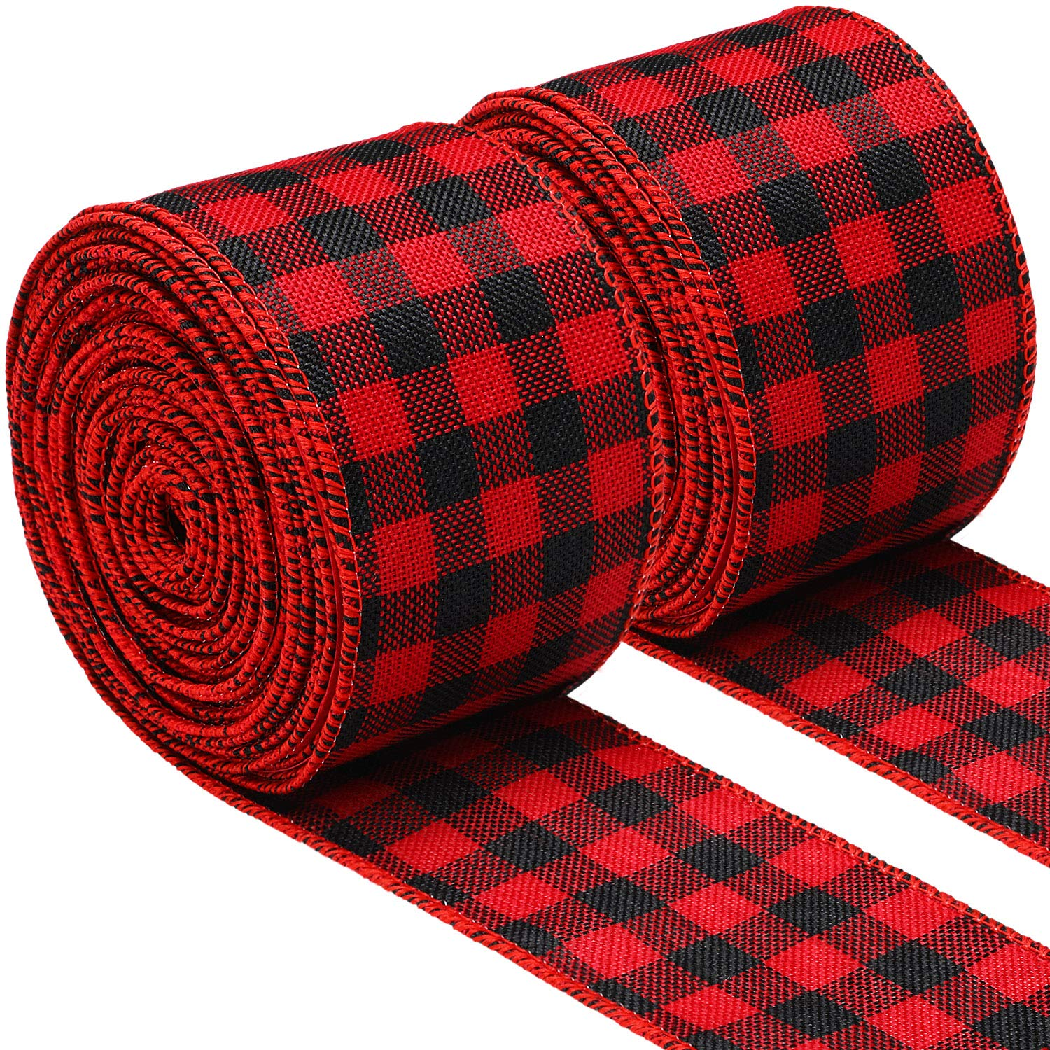 2 Rolls 2.5 Inch Wide Christmas Ribbon Red and Black Plaid Wired Ribbon Christmas Wrapping Crafts Ribbon for Gift Wrapping Supplies 472 Inch Long Total