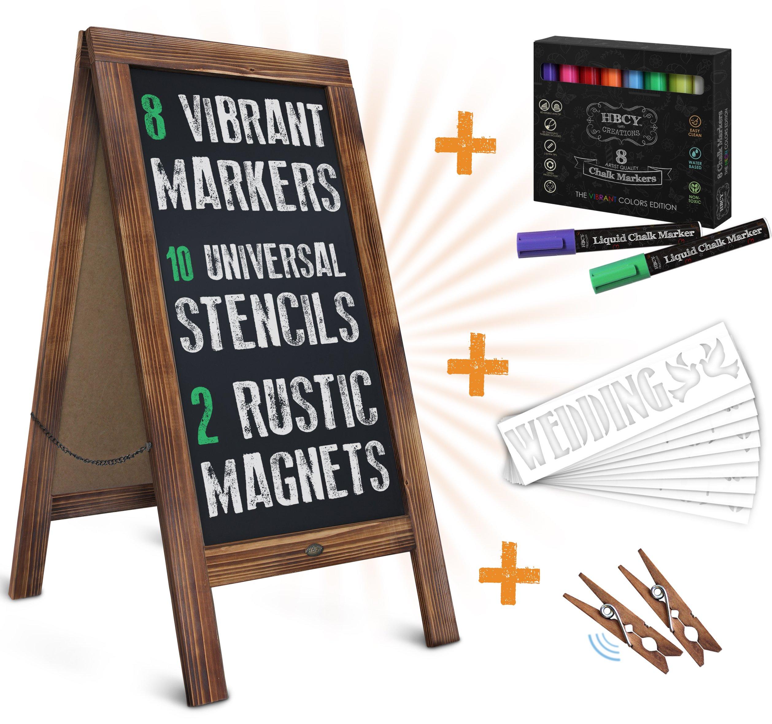 Rustic Magnetic A-Frame Chalkboard Deluxe Set / 8 Chalk Markers + 10 Stencils + 2 Magnets! Outdoor Sidewalk Chalkboard Sign/Large 40'' x 20'' Sturdy Sandwich Board (The Deluxe Set)