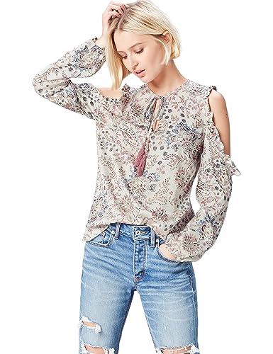 FIND Blusa Estampada con Hombros al Aire y Lazo para Mujer