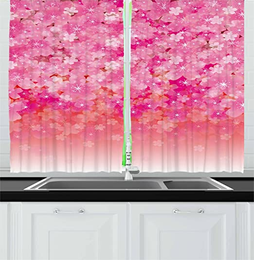 Ambesonne Pale Pink Kitchen Curtains Cherry Blossom Tree Flowers In Vibrant Tones Spring Beauty Illustration Japan Window Drapes 2 Panel Set For Kitchen Cafe Decor 55 X 39 Pink Pale Pink
