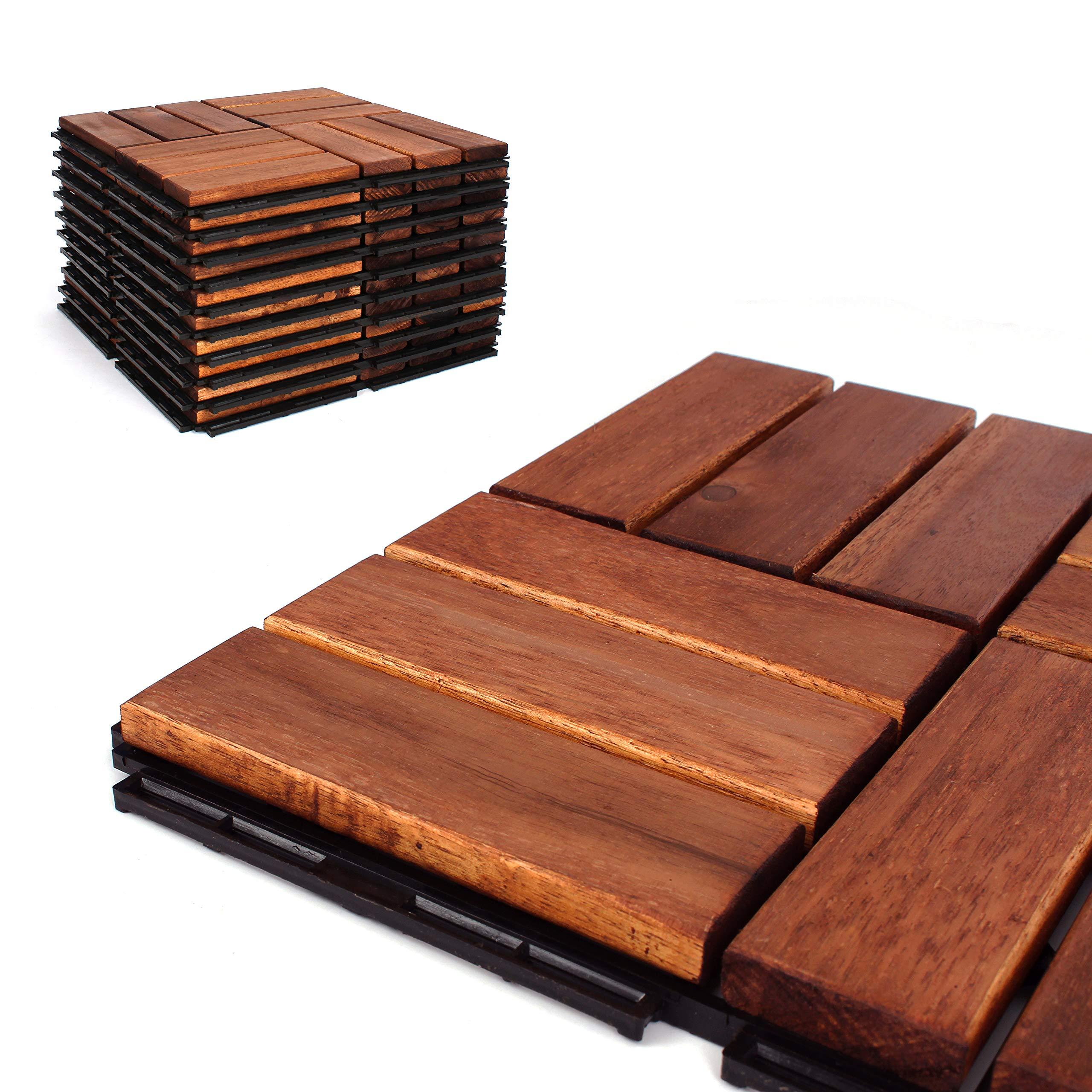 Deck Tiles - Patio Pavers - Acacia Wood Outdoor Flooring - Interlocking Patio Tiles - 12''x12'' (6 Pack) - Oiled Acacia Finish - Checker Pattern Decking