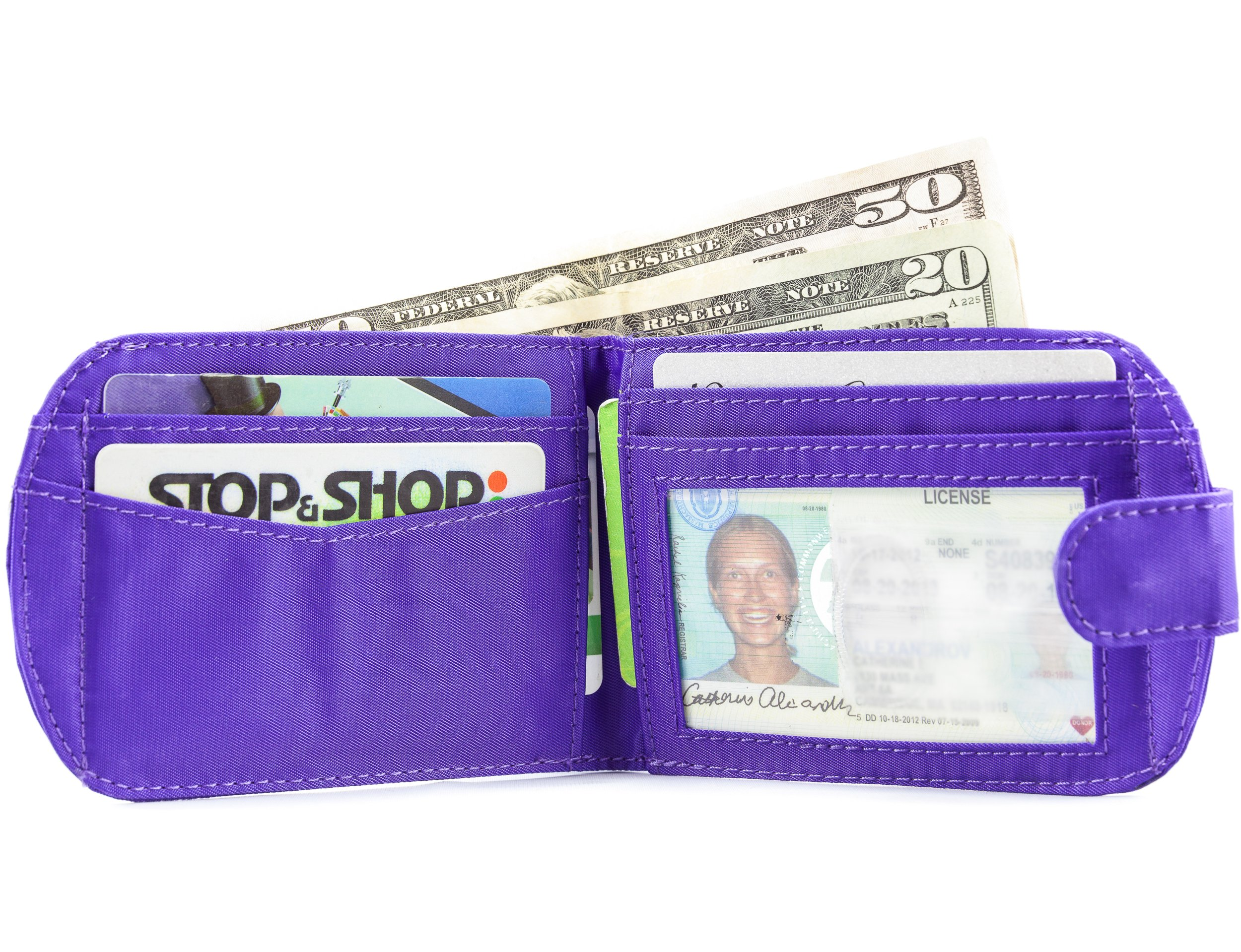 Big Skinny Women's Taxicat Bi-Fold Slim Wallet, Holds Up to 25 Cards, Purple