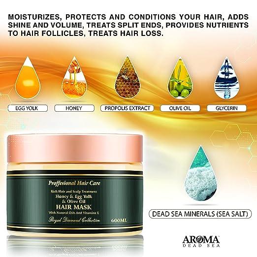 Amazon Com Aroma Premium Hair Mask 600ml Honey Egg Yolk Olive