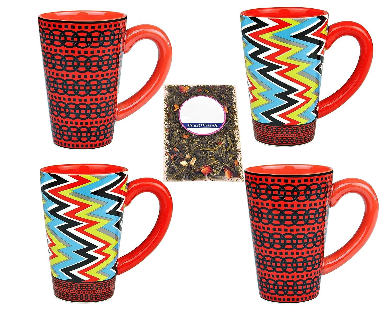 4er Set Tee Becher Tassen Keramik Streifen rot weiß Jameson /& Tailor Teeprobe