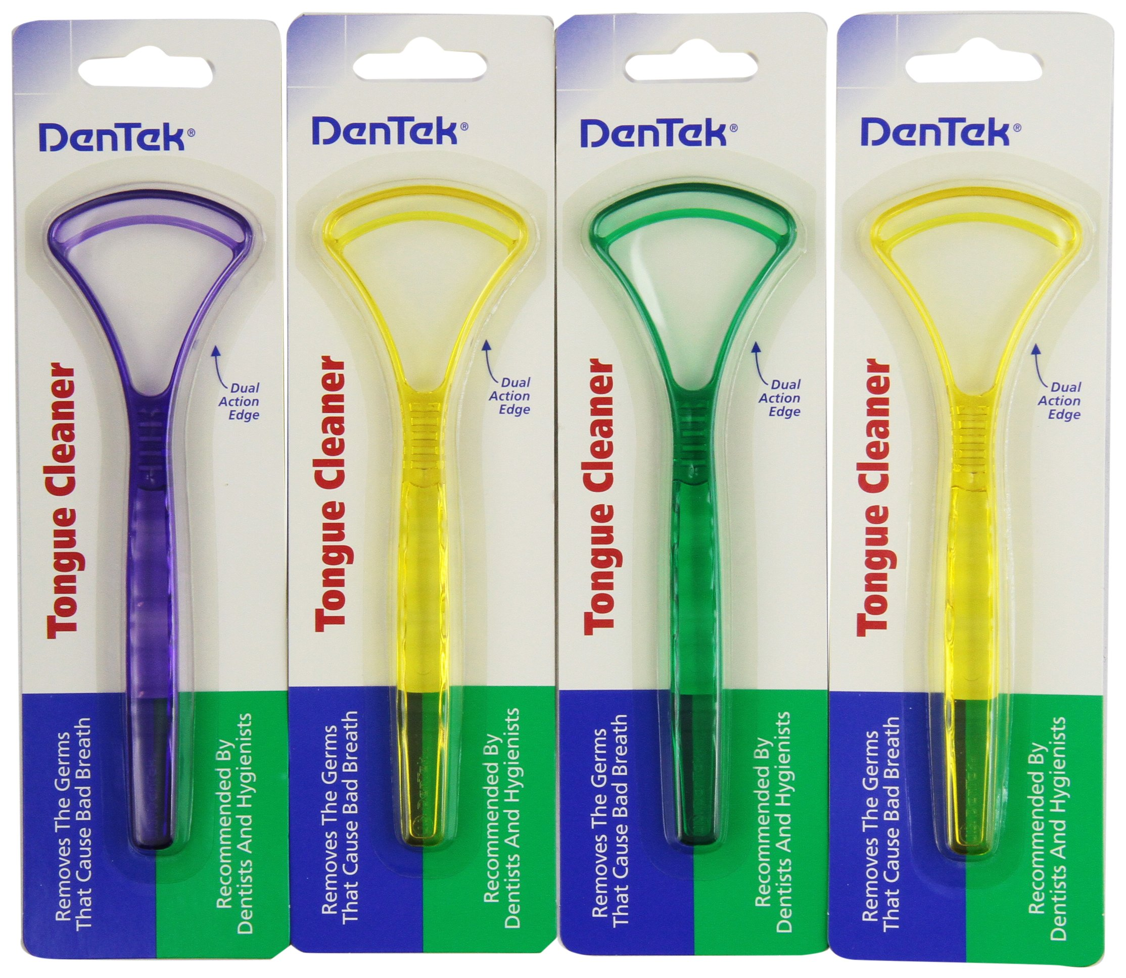(4 Pack) Dentek Dual Action Tongue Cleaner Scraper Remove Germs Recommended By Dentists