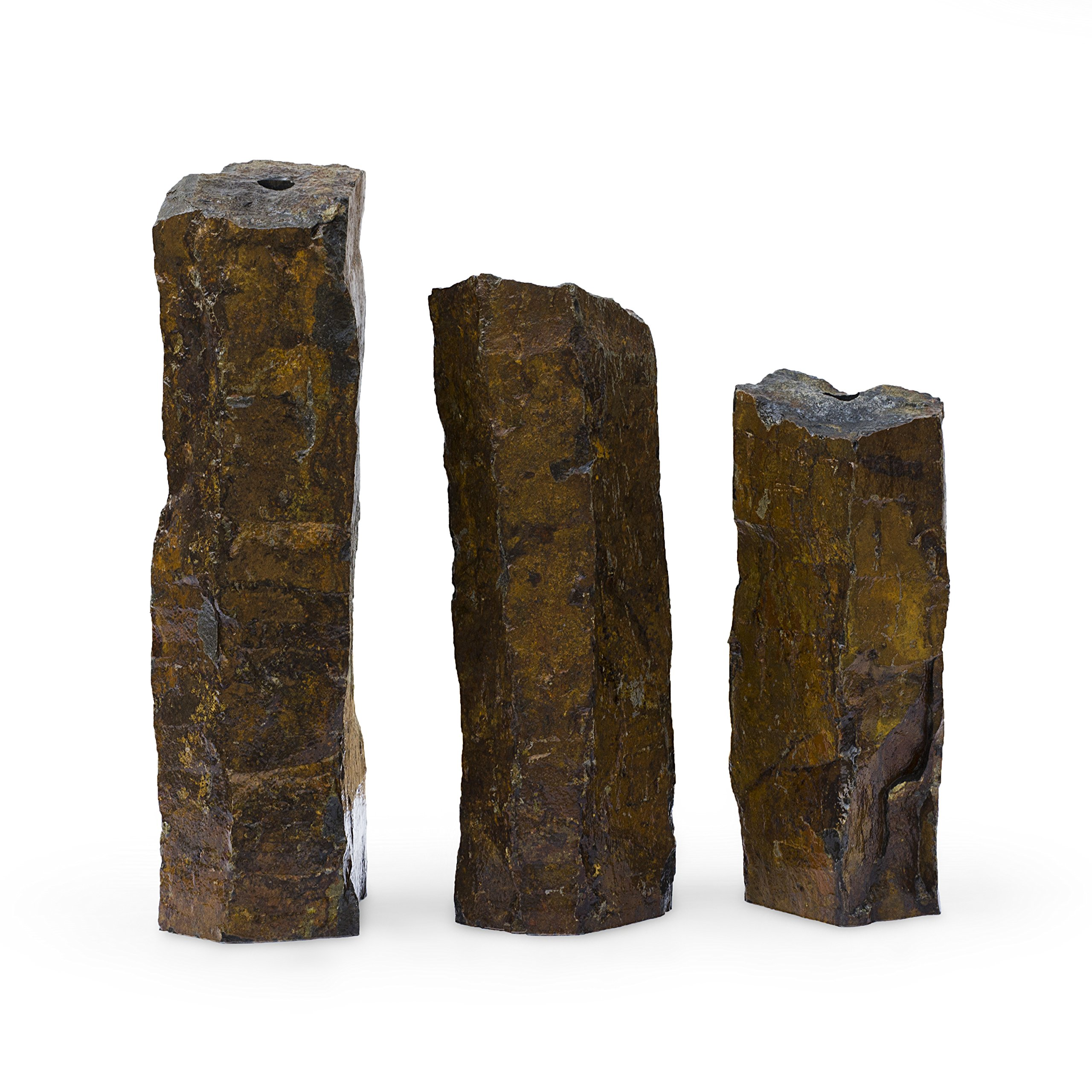 Aquascape Mongolian Basalt Stone Fountain Columns, Set of 3, 24-Inch, 30-Inch, 36-Inch | 58062