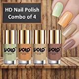 Volo HD Colors High-Shine Long Lasting Non Toxic Professional Nail Polish Set of 4 (Mischievous Mint, Flirty Nude, Nude and Dark Nude)