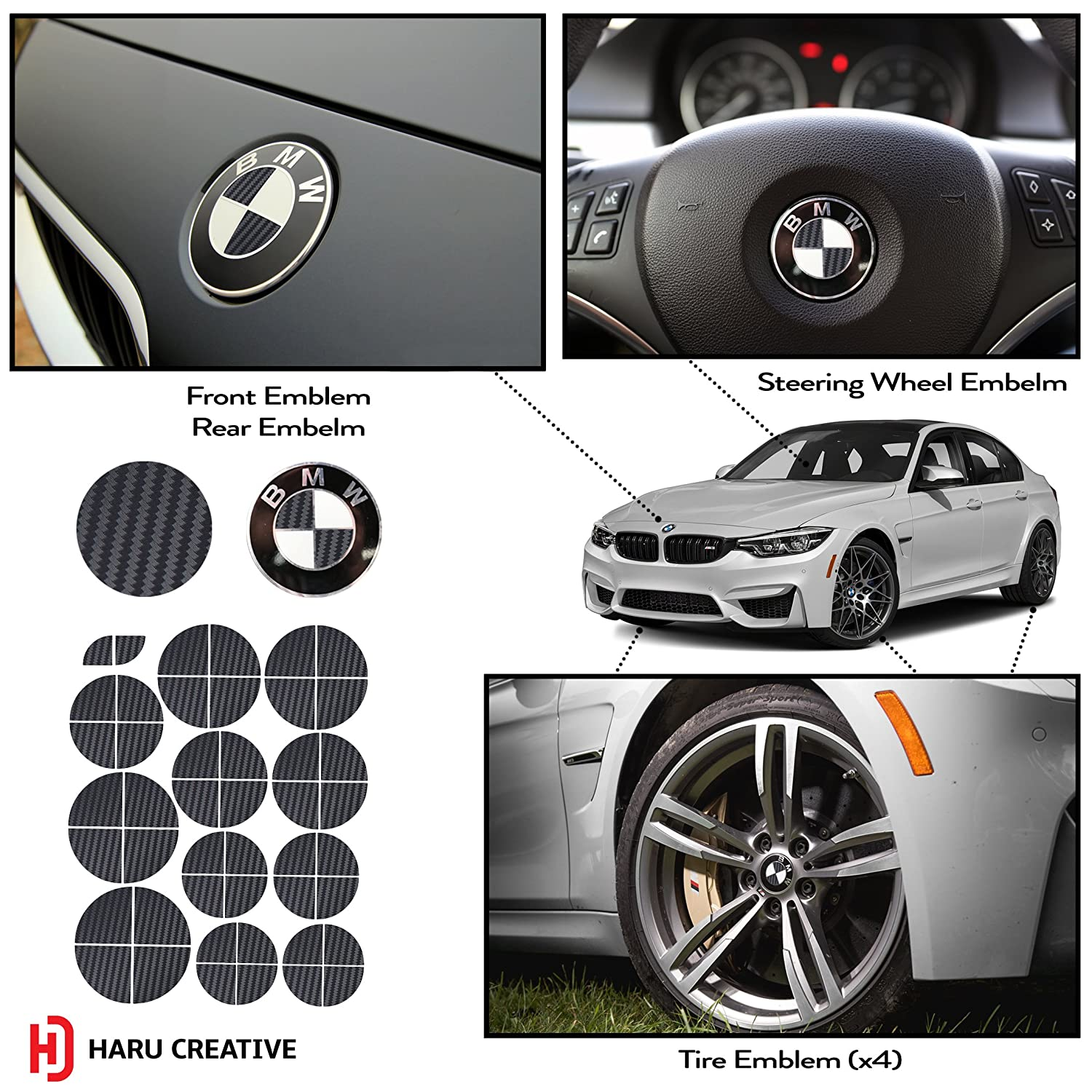 Haru creative vinyl overlay aftermarket decal sticker compatible with and fits all bmw emblem caps for hood trunk wheel fender emblem not included
