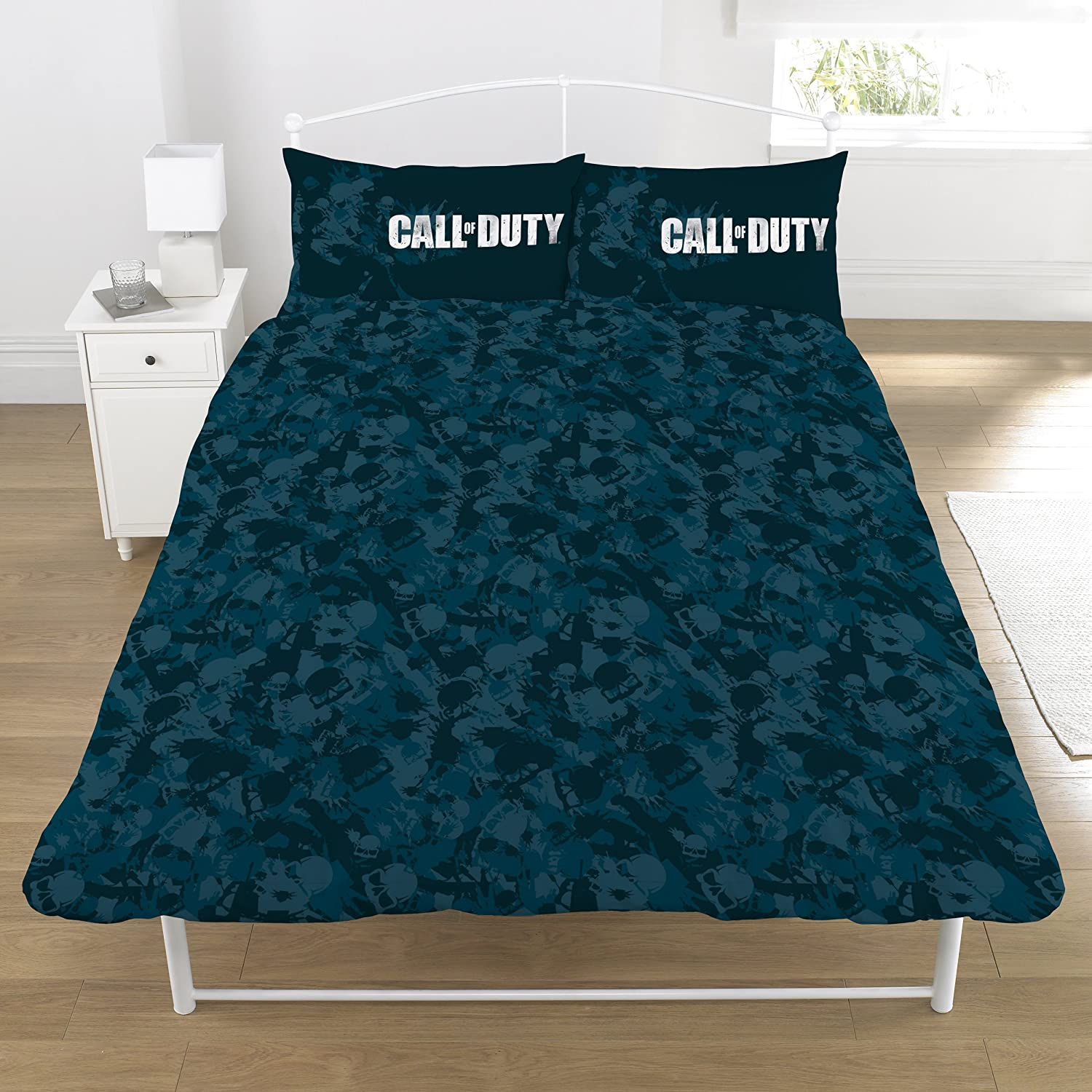 Call of Duty Broken Skull Camo Reversible UK Single//US Twin Duvet Cover with Matching Pillow Case Bedding Set