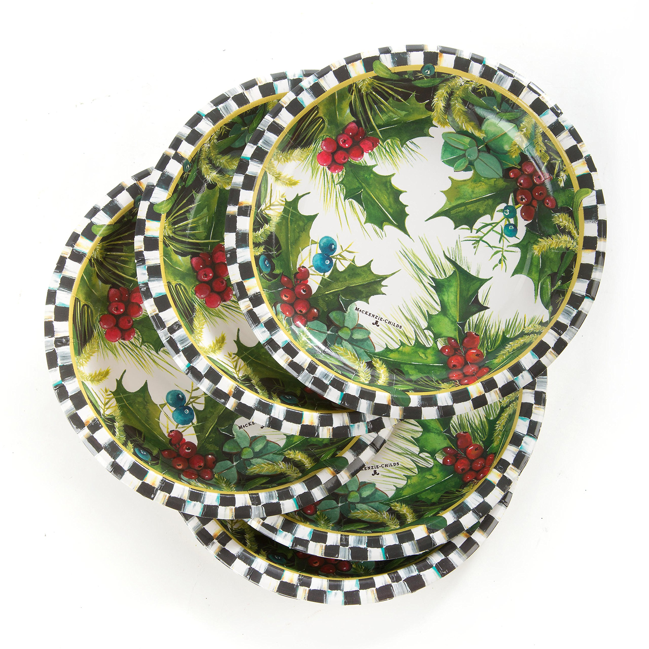 Mackenzie-Childs Holly & Berry 7-in Holiday Paper Salad/Dessert Plates (20 Count)