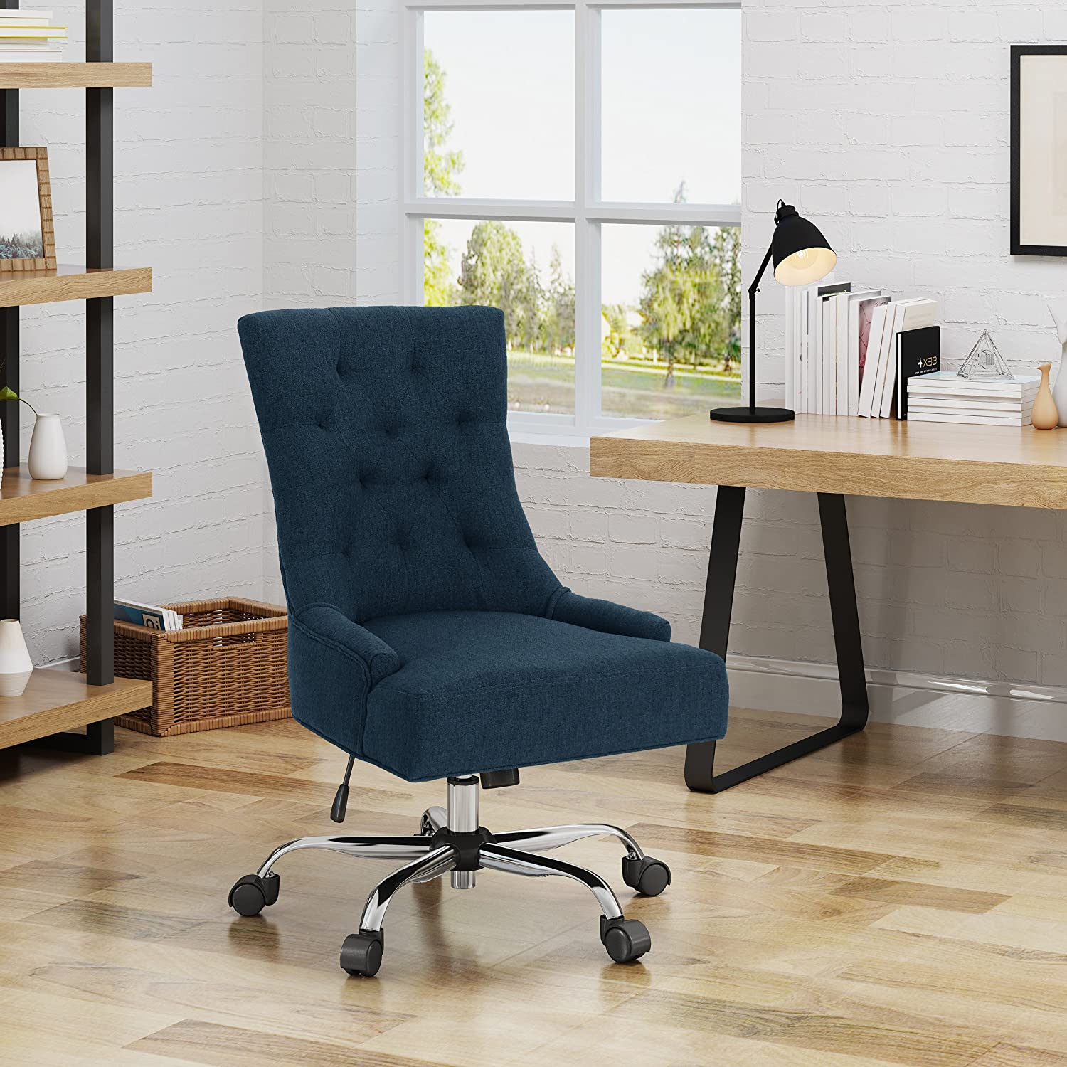 Christopher Knight Home Bagnold Desk Chair, Navy Blue Chrome