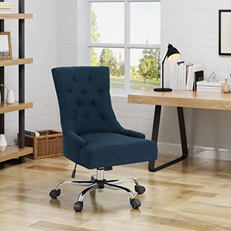 Christopher Knight Home 304968 Bagnold Desk Chair, Navy Blue Chrome