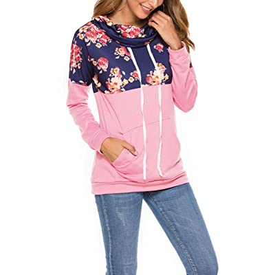 Sweetown Womens Pullover Tunic Cowl Neck Kangaroo Pocket Casual Fall Tops Pink S at Women's Clothing store