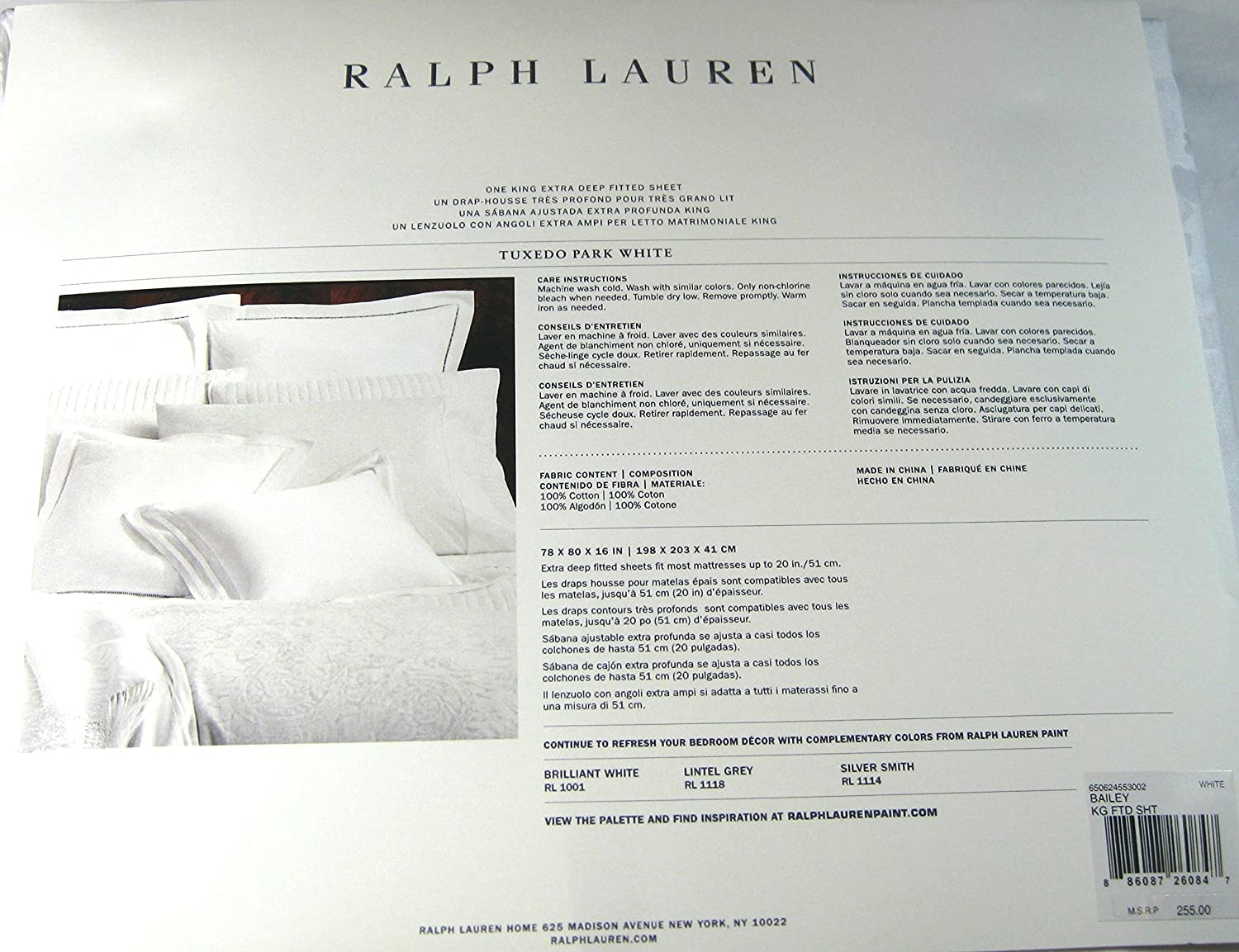 Amazon.com: Ralph Lauren Extra Deep Fitted King Sheet Tuxedo Park Bailey White: Home & Kitchen