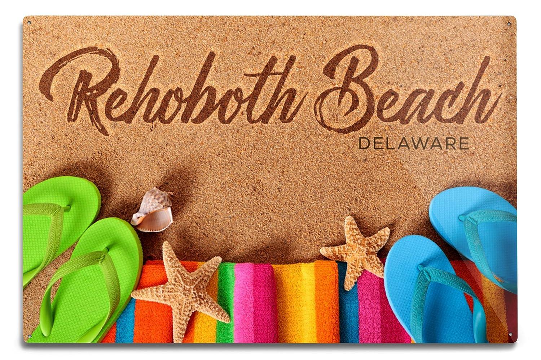 レホボトビーチ、デラウェア州 – Flip Flops on Beach 12 x 18 Metal Sign LANT-78896-12x18M B06Y1KNJP6  12 x 18 Metal Sign