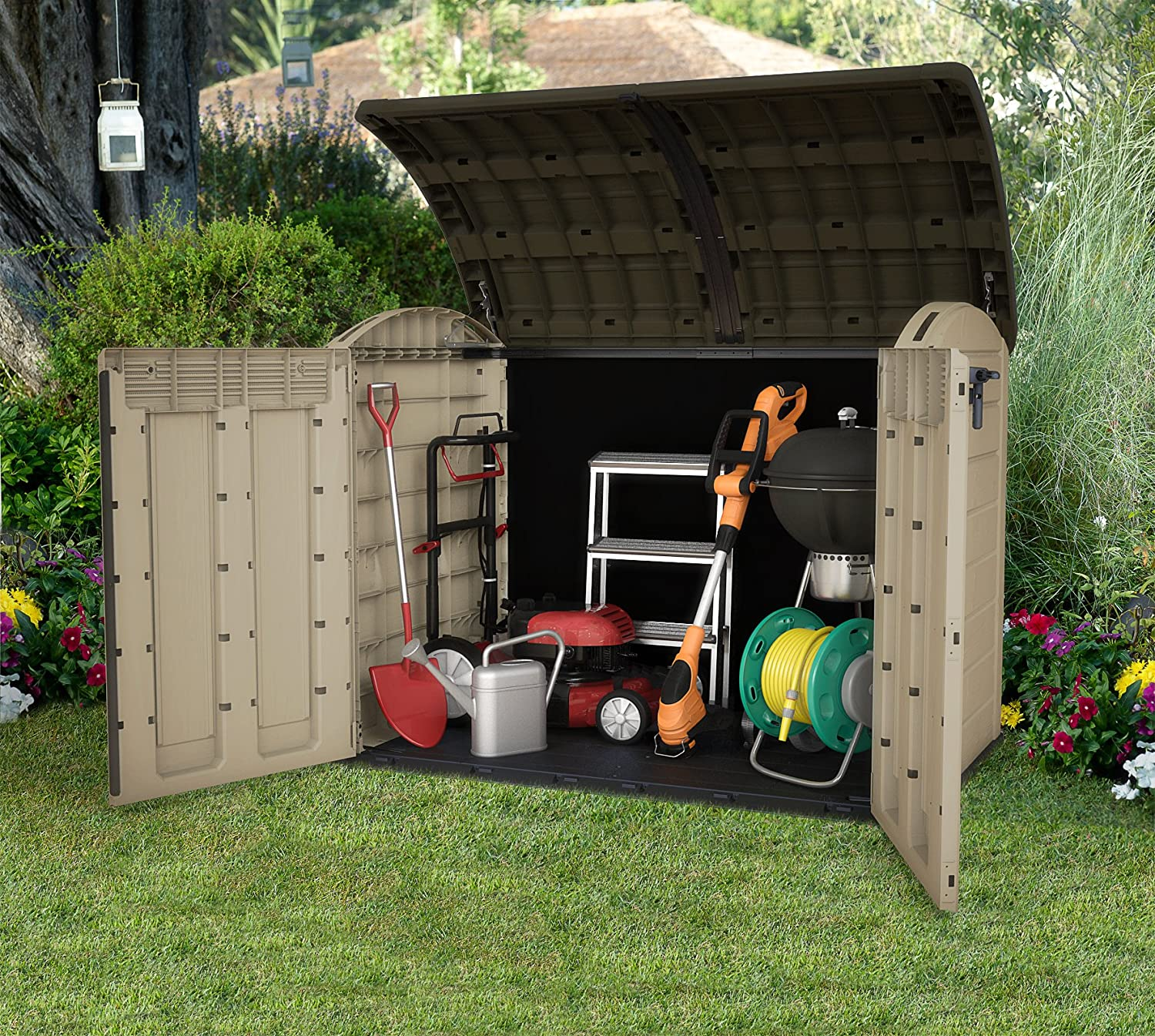keter stronghold shed us sheds outdoor storage grays plastic x ft resin p leisure