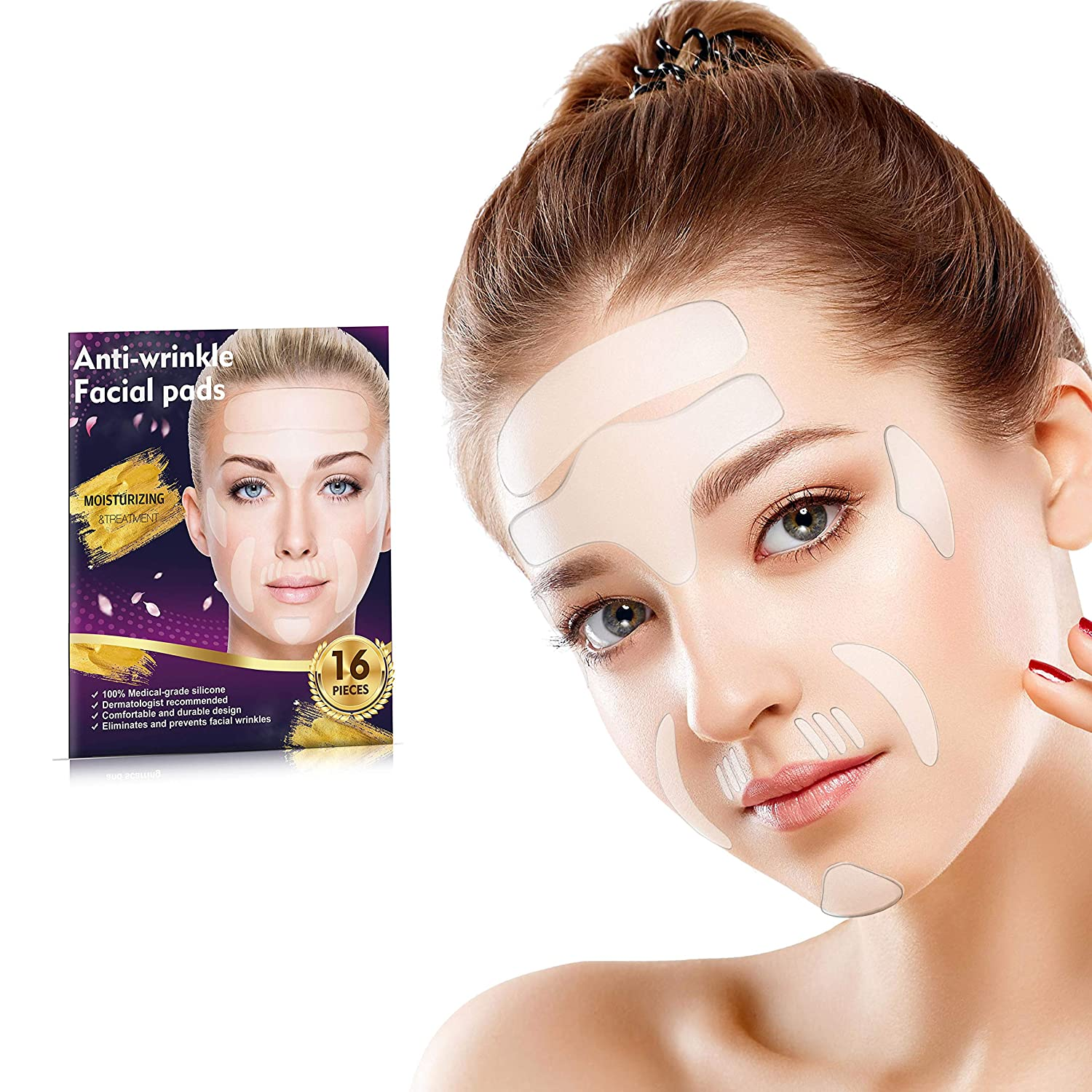 16 Pieces Face Wrinkle Patches, Reusable Anti Wrinkle Pads for Face, Reducing and Smoothing Wrinkles Around Forehead, Eye, Mouth & Upper Lip: Beauty