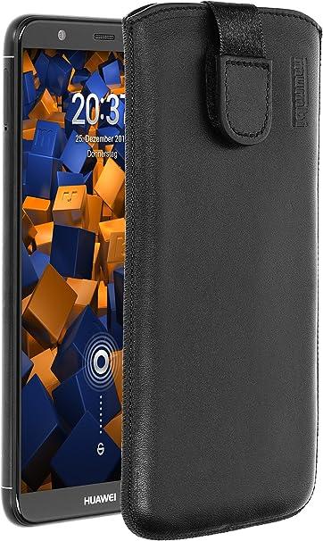 Mumbi Echt Ledertasche Kompatibel Mit Huawei P Smart Hülle Leder Tasche Case Wallet Schwarz Elektronik