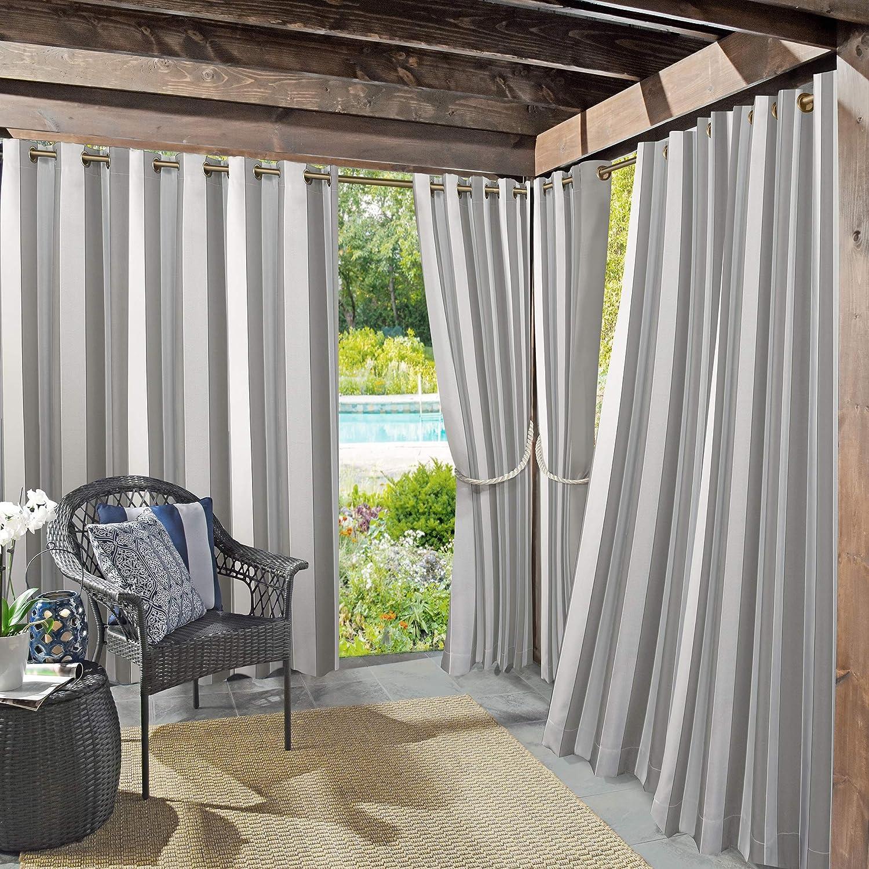 "Sun Zero Valencia UV Protectant Indoor Outdoor Curtain Panel, 54"" x 95"", Gray"