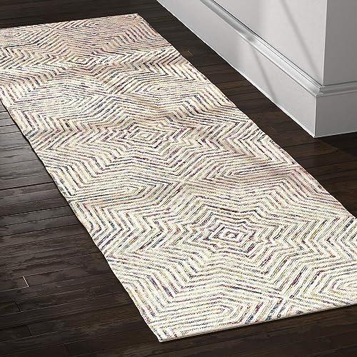 Rivet Geometric Wool Runner Rug, 2 6 x 8 , Ivory, Red, Purple